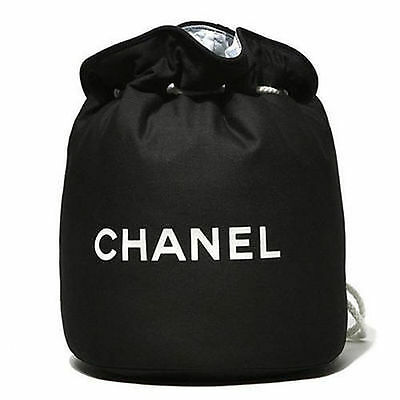 CHANEL VIP Black Canvas Large  Drawstring Makeup Cosmetic Backpack Bag NEW
