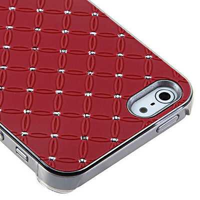 For Apple iPhone 5 5S SE HARD Executive Case Phone Cover Red Dazzling Diamond