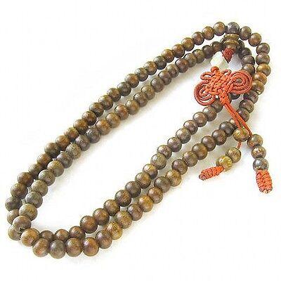 "Fragrant Long Tibetan 108 8mm Green Sandalwood Prayer Beads Mala Necklace -32"""