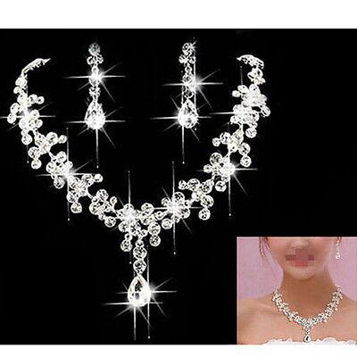 Silver Wedding Bridal Formal Jewellery Crystal Rhinestone Necklace Earring Set