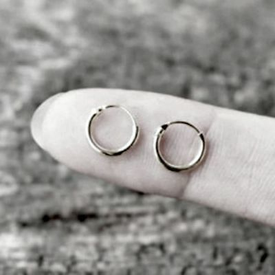 Earrings For Kids (.925 Sterling Silver Hoop Earrings Kids Baby Childs Tiny Loop Continuous New)
