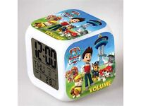 New Cute Paw Patrol 7 Color Changing Night Light Alarm Clock Kids Children Toy