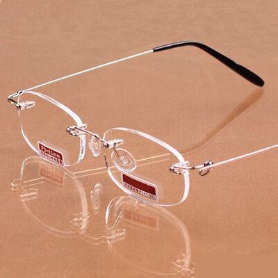 Ultra Light Women Men's Metal Rimless Reading Glasses HD Eyeglasses +1.0 to +4.0