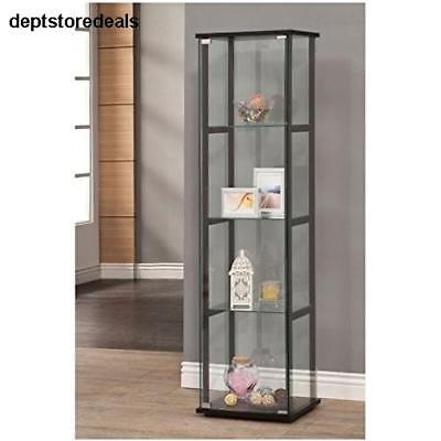 Curio Cabinet Black Glass Tower Display Case Beauty Items Pieces Shelves (Dining Room Modern Curio Cabinet)
