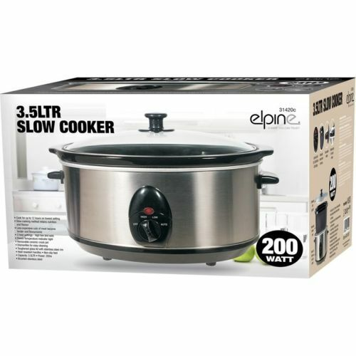 ELPINE 3.5L SLOW COOKER STAINLESS STEEL + REMOVABLE CERAMIC