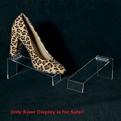 Slanted Acrylic Shoe Riser Display 7 W X 2.5 D X 3 H Inches - Box Of 10