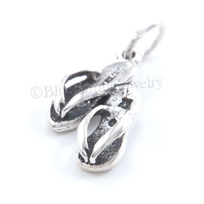 - SANDAL Charm Beach Thong FLIP FLOP FLOPS Sterling Silver SUMMER 925 Small 3D