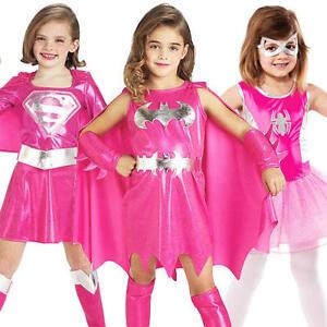 pink superhero girls fancy dress marvel dc comic book hero kids childs costume ebay. Black Bedroom Furniture Sets. Home Design Ideas