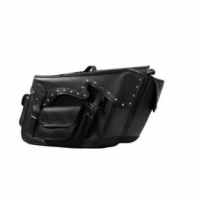 LARGE QUICK DETACH Studed MOTORCYCLE PVC LEATHER SADDLEBAGS UNIVERSAL FIT BLACK (Detachable Leather Saddlebags)