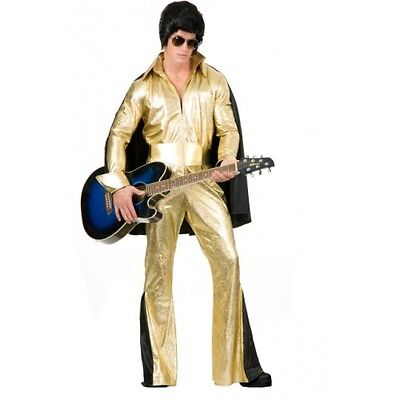 Rock Star Gold Elvis Presley Metallic Pimp Dress Up Halloween Adult Costume