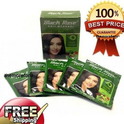 Black Rose Black Mehandi Herbal Henna Powder Gray Hair Dye Color 5 X 10 GM Black Rose Hair Dye