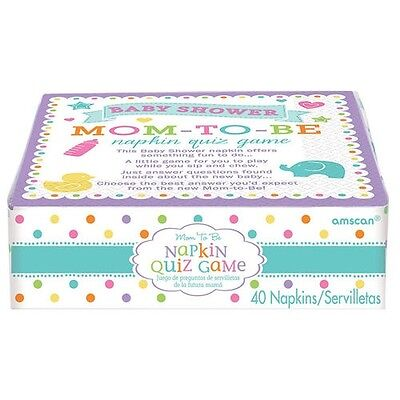 BABY SHOWER Mom to Be TRIVIA GAME NAPKINS (40) ~ Party Supplies Serviettes Cake Napkin Trivia Game