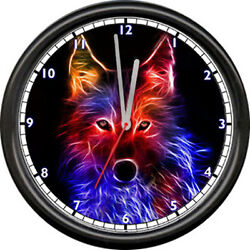Wolf Wolves Wildlife Neon Moon Colors Native Poster Art Sign NO LIGHT Wall Clock