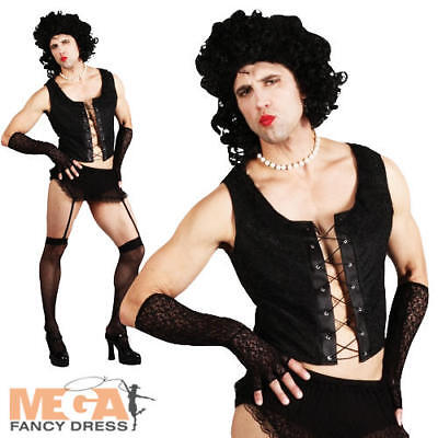 Transvestite Frank n Furter + Wig Rocky Horror Fancy Dress Costume Adult Outfit