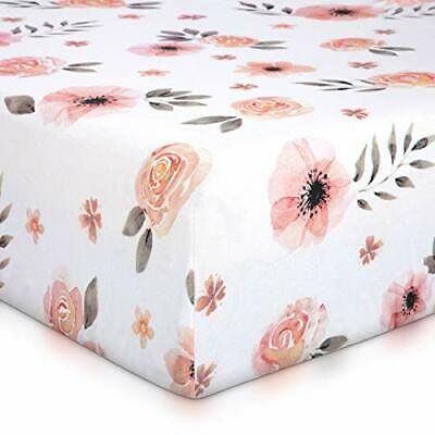 Pink Floral Girl Crib Sheet - 100% Finely Combed Cotton Breathable Super Soft...