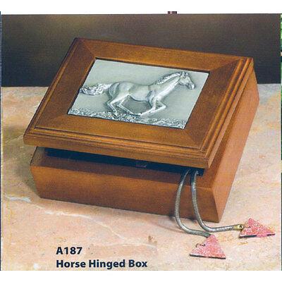 Horse Wood & Pewter Trinket Box
