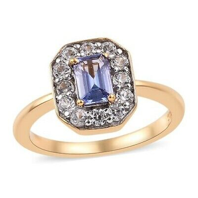 Vintage Style, Tanzanite Solitaire Ring In 14K Gold On Sterling Silver, Size L