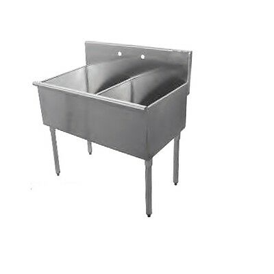 New Commercial Stainless Steel 36 X 24.5 2 Two Compartment Budget Sink 18 Ga