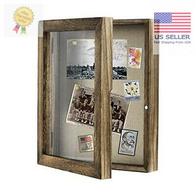 Shadow Box Display Case linen Memorabilia Awards Medals Photos Memory Box 8x10 Medal Shadow Boxes