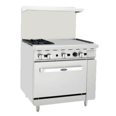 Atosa Ato-2b24g 36 Cookrite Gas Restaurant Range With 2 Burners And 24 Griddle