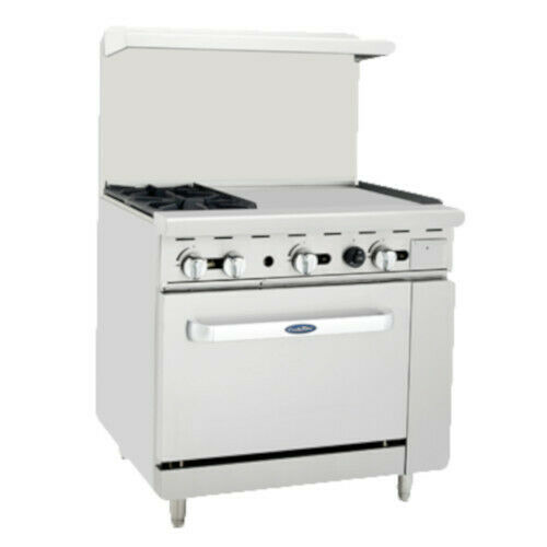 """Atosa Ato-2b24g 36"""" Cookrite Gas Restaurant Range With 2 Burners And 24"""" Griddle"""