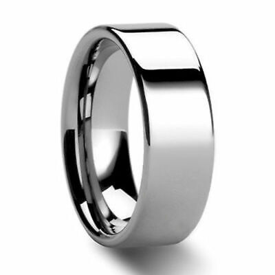 8mm Polished Pipe Cut Tungsten Carbide Men's Women's Wedding Ring Band 4-15 Cut Tungsten Wedding Ring