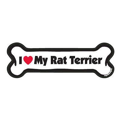 I Love My Rat Terrier Dog Bone Car Magnet