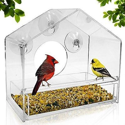 Large Bird Feeder Crystal House Shelter Feeding Station Weather Proof Garden NEW