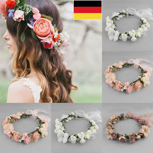 BeachParty Kopfschmuck Blumenkranz Braut Hochzeit Bündchen Boho Floral Haarband