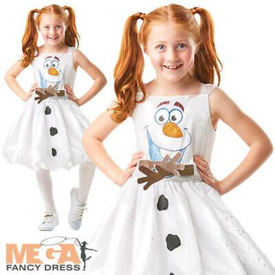 Olaf Costume For Girls (Olaf Air Motion Girls Fancy Dress Disney Frozen Snowman Kids Fairy Tale Costume)