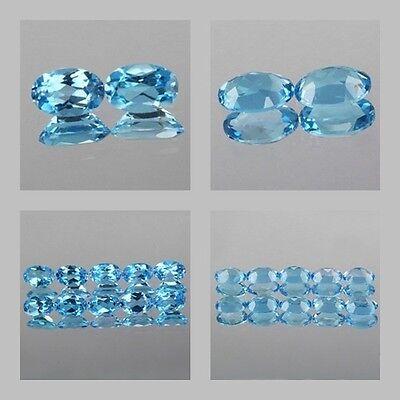 6x4mm Matched Lot 2,10pcs Oval Cut Genuine Natural Stone Swiss Blue TOPAZ