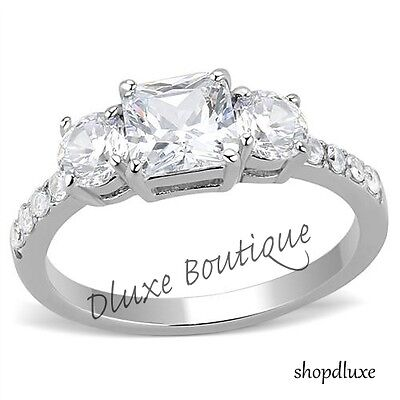 Beautiful Three Stone CZ Stainless Steel Anniversary Engagement Ring Size (Beautiful Stainless Steel Ring)