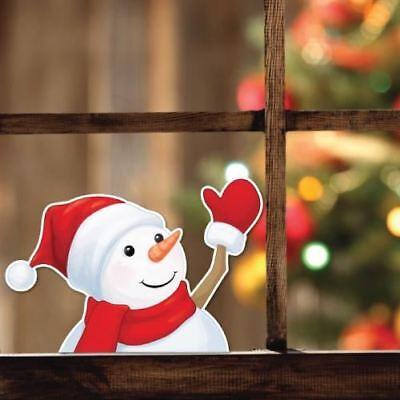 Waving Snowman Xmas Christmas Shop Home Window Sticker ()