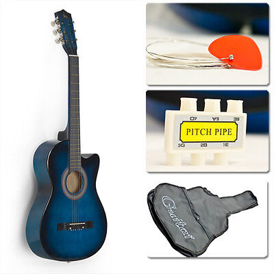Blue Acoustic Guitar Cutaway Design w/ Guitar Case, Strap, Tuner and Pick on Rummage