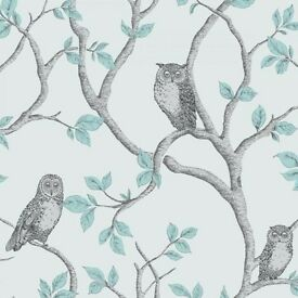 Woodland owls wallpaper (teal)