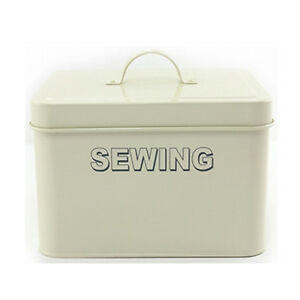 ENAMEL SEWING CONTAINER THREAD ACCESSORIES KIT BASKET NEW BOX TIN STORAGE NEEDLE