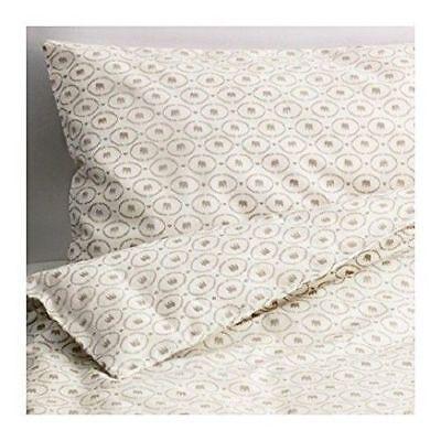NEW IKEA HJARTEVAN Crib Duvet Cover + Pillowcase White Beige Bedding 402.902.05