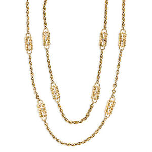 Gold-Plated Jackie Kennedy Paperclip Dual Chain & Station Necklace Chain Set