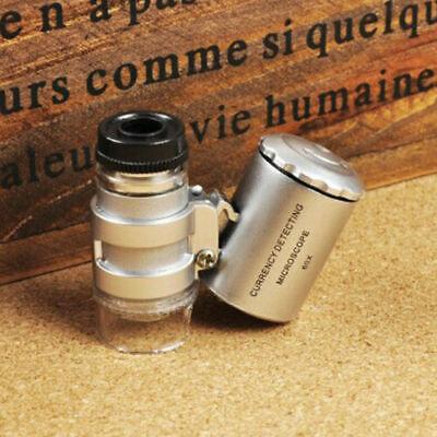 Mini Pocket Microscope Led Uv Jewellery Glass 60x Magnifier Jewellers Loupe Led