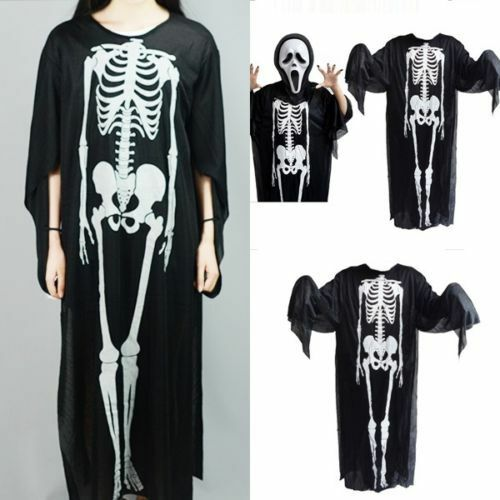 Skull Skeleton Halloween Costume Long Sleeve Cosplay Party Suit Fancy Dress Prop Clothing, Shoes & Accessories