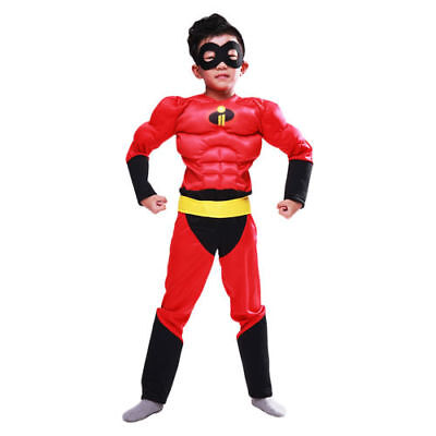 The Incredibles 2 Boy's Muscle Costumes Kids Halloween Cosplay Costume Jumpsuit@