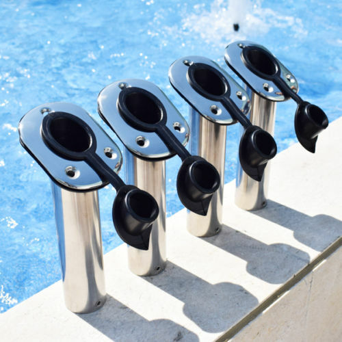 4X Flush Mount S/S Boat Fishing Rod Holder Rod Stand Support Tube Pole 30 Degree