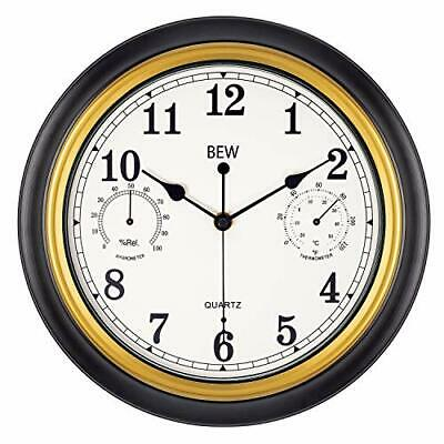 12 Inch Wall Clock with Thermometer Retro Decorative Battery Black-golden