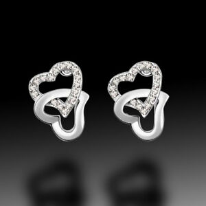 White 2 Love Heart 18k White Gold Plated Earrings Swarovski ELEMENTS Crystal AU