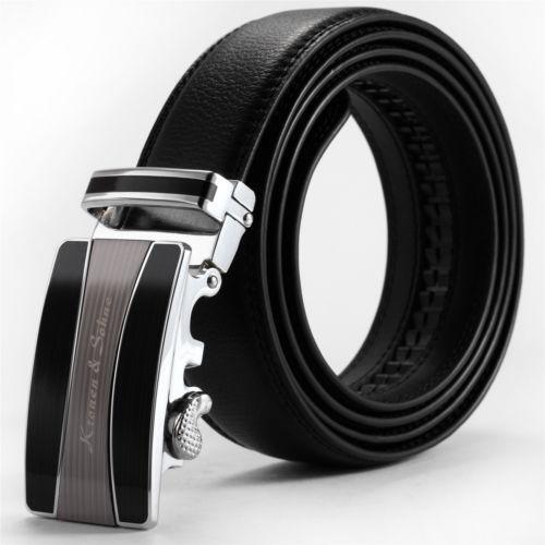 mens leather belt black no buckle ebay