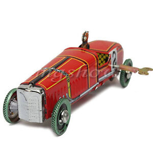 Vintage Roadster Racing Car Model Tin Toy Wind Up Retro Style Gift Collectable
