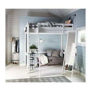 IKEA Stora Loft Bed Frame + Linnamon Table / Desk Top