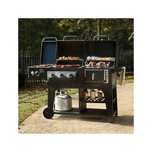 Barbecue Grill Gas Charcoal Burner BBQ Cooking Hybrid ...