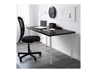 IKEA large black-brown desk/dining table and office chair (vika amon/snille)