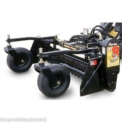 """Harley Power Landscape Rake For New Holland Skid Steers,84"""" Wide,Hydraulic Angle"""